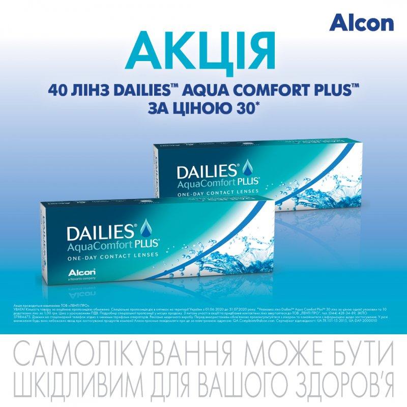 Акция на однодневные линзы Dailies AquaComfort Plus