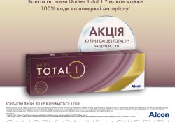 Акция на однодневные контактные линзы Total 1